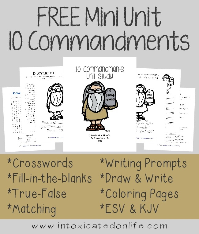 10 commandments coloring pages - 10 mandment mini unit study 75 pgs