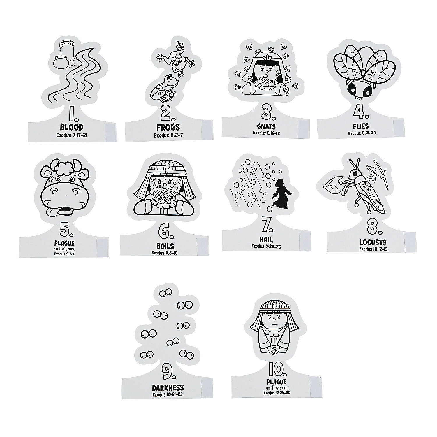 10 commandments coloring pages - color your own plagues finger puppets a2 fltr