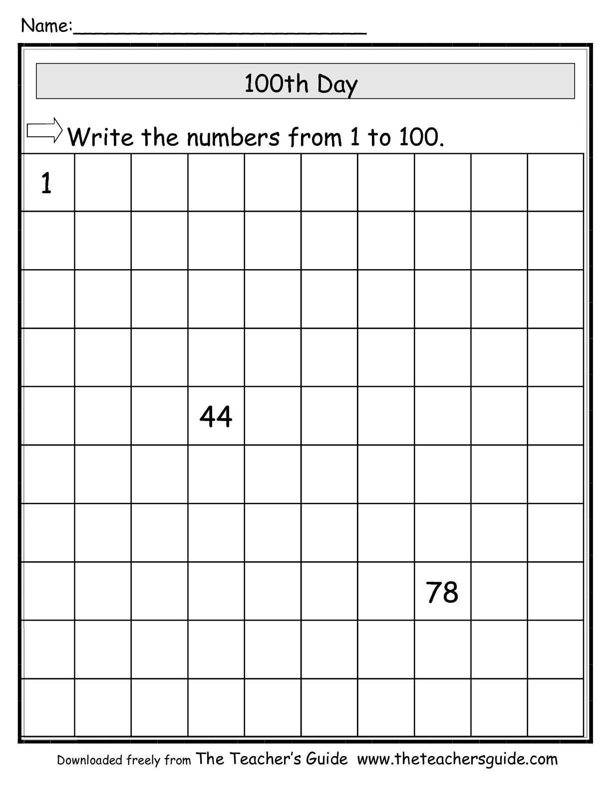 100th day coloring pages - 100thday