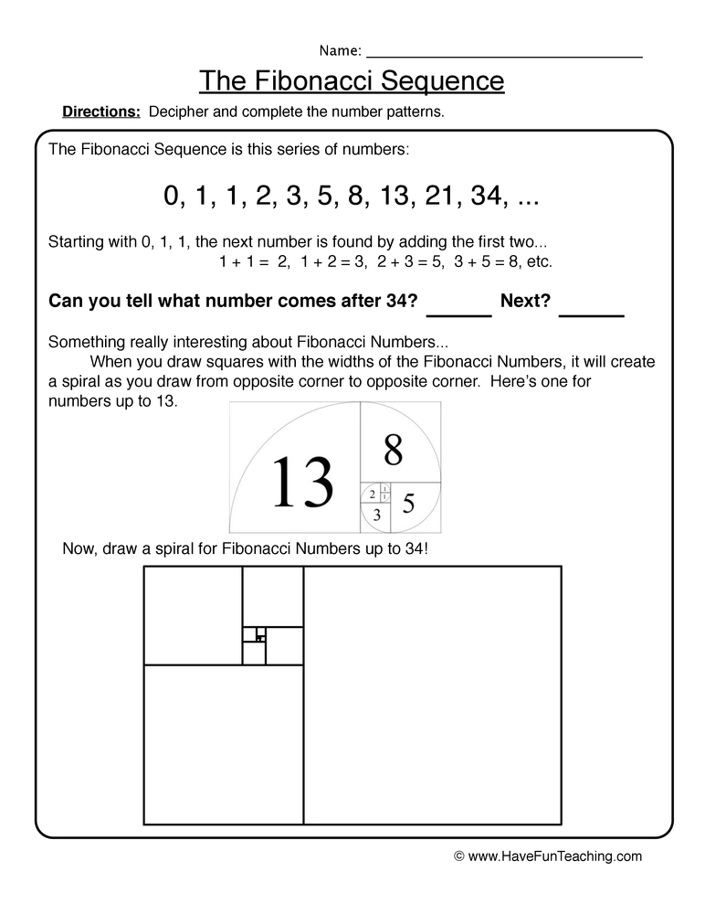 1st grade coloring pages - fibonacci sequence patterns worksheet 2 2