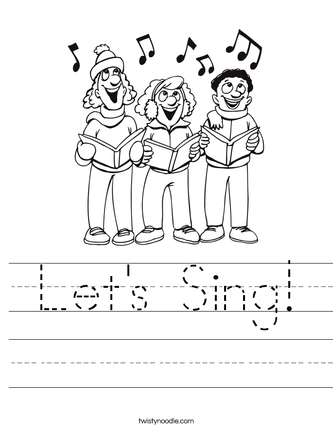 1st grade coloring pages - lets sing worksheet