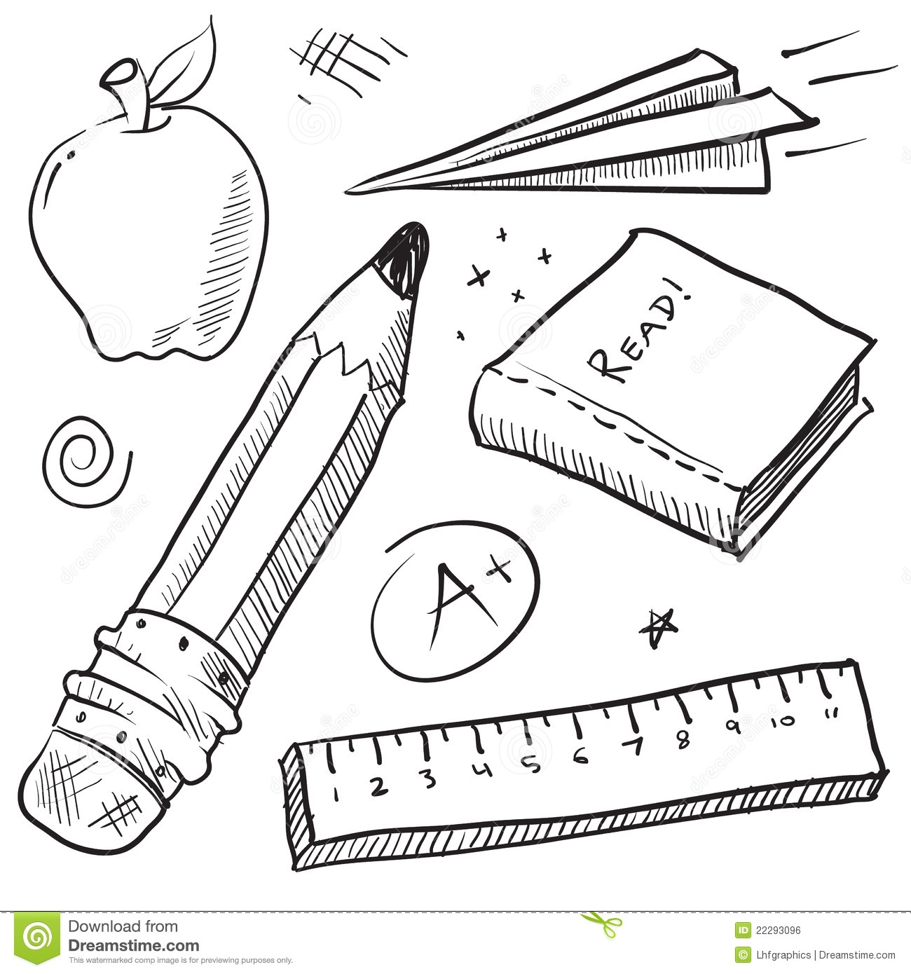 1st grade coloring pages - royalty free stock image school objects illustration image