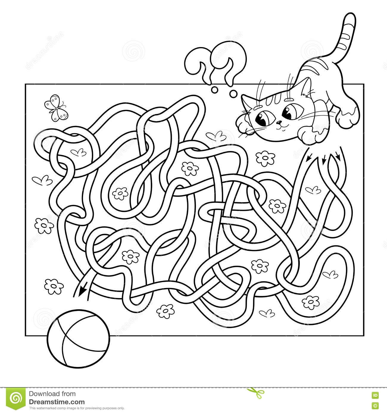 3rd grade coloring pages - stock illustration education maze labyrinth game preschool children puzzle tangled road coloring page outline cat ball cartoon vector image