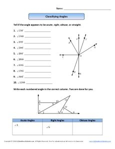 4th grade coloring pages - classifying angles