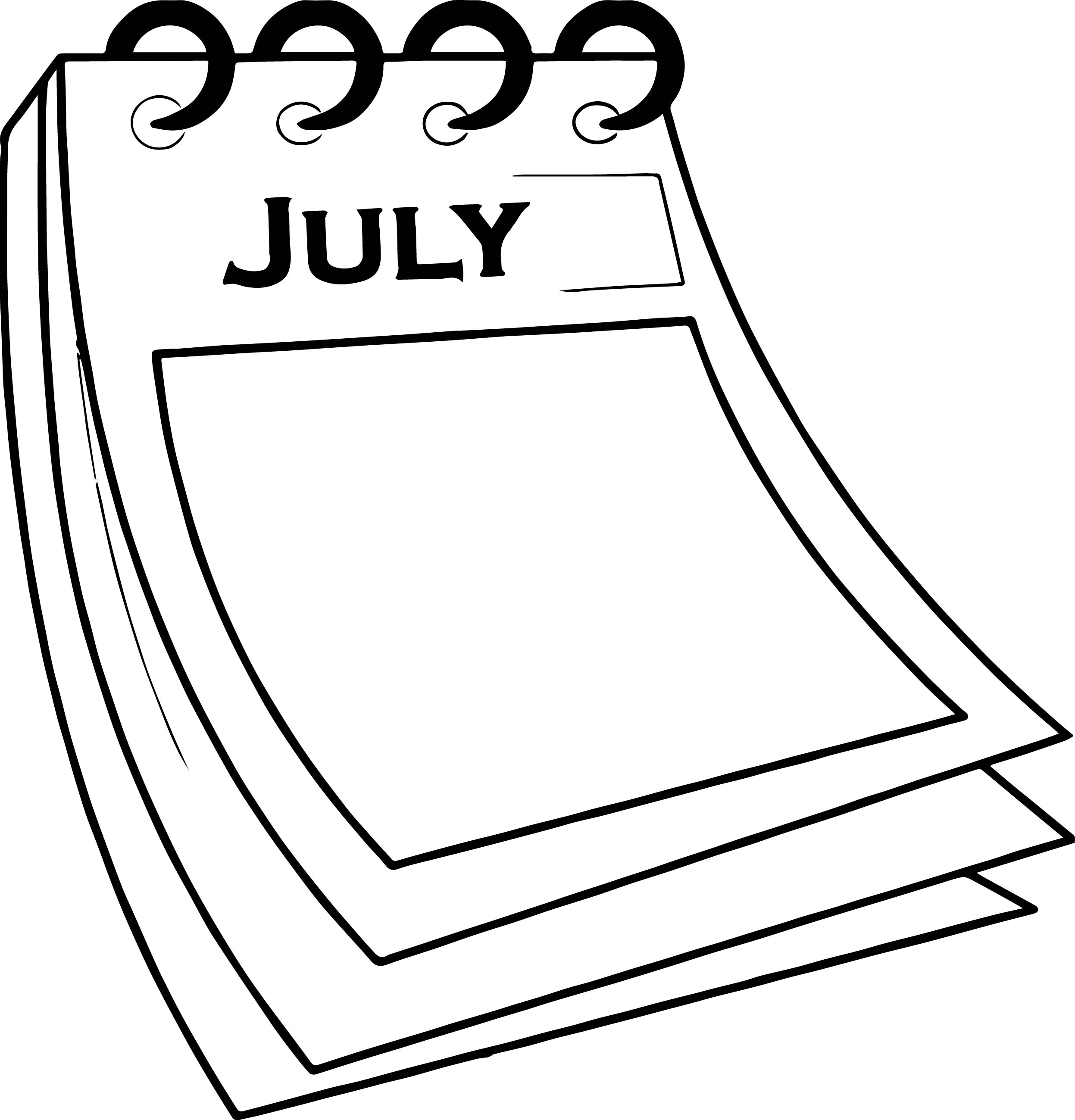 4th of july coloring pages - 4th july calendar paper coloring page