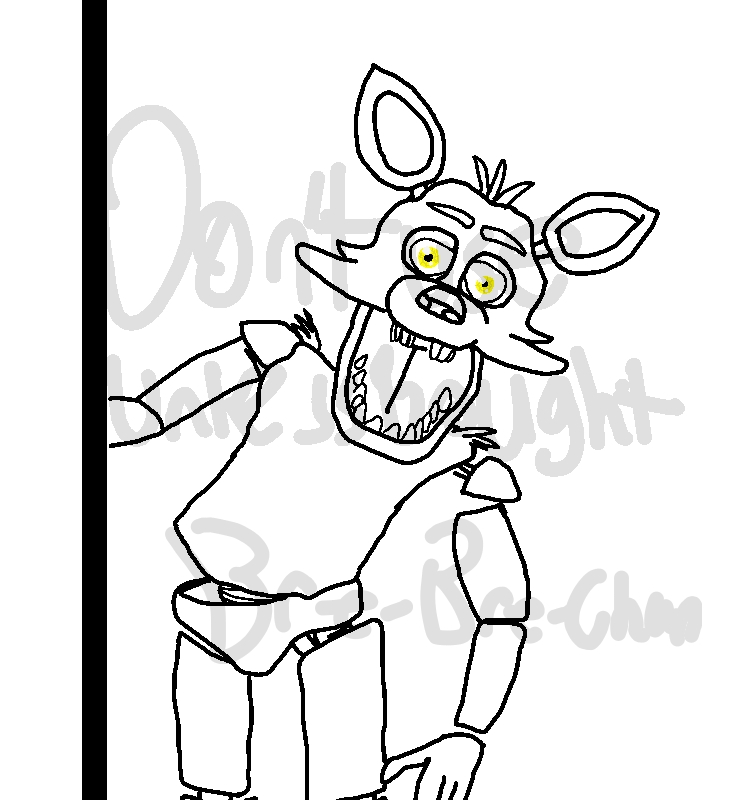 5 nights at freddy's coloring pages - foxy five nights at freddys outline drawing