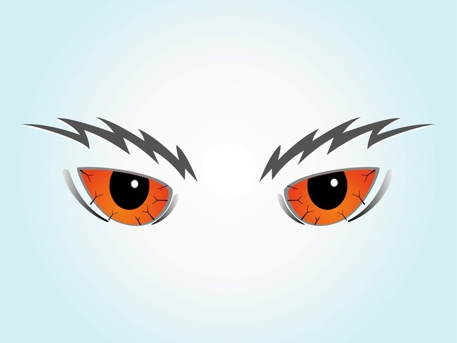 5 Senses Coloring Pages - Scary Cartoon Evil Eyebrows Vector Vector