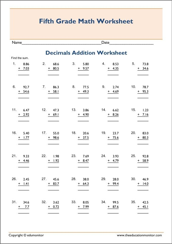 5th grade coloring pages - decimal addition worksheets free