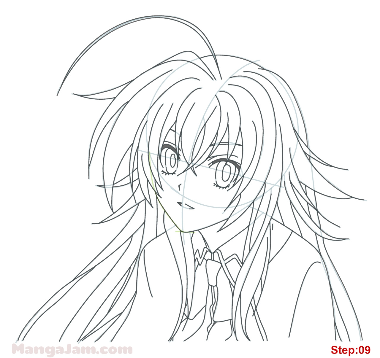 9 11 coloring pages - how draw rias gremory high school dxd