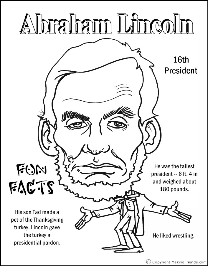 abraham lincoln coloring page - color president lincoln