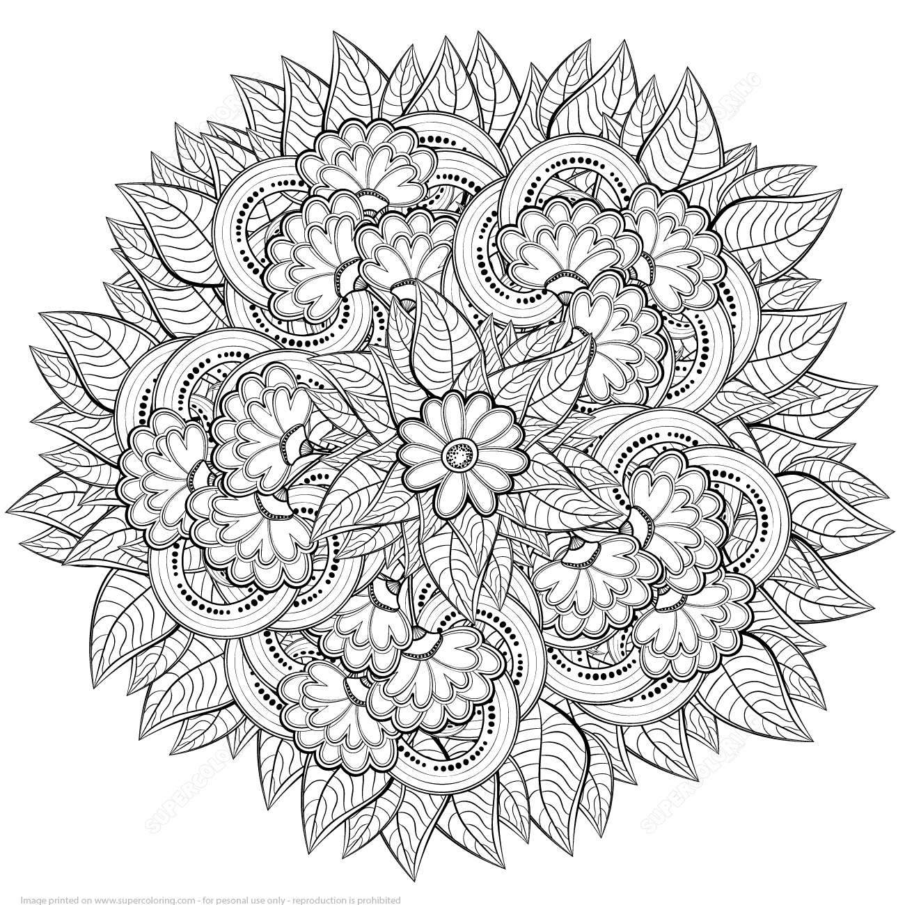 abstract coloring pages - abstract flowers design zentangle coloring page