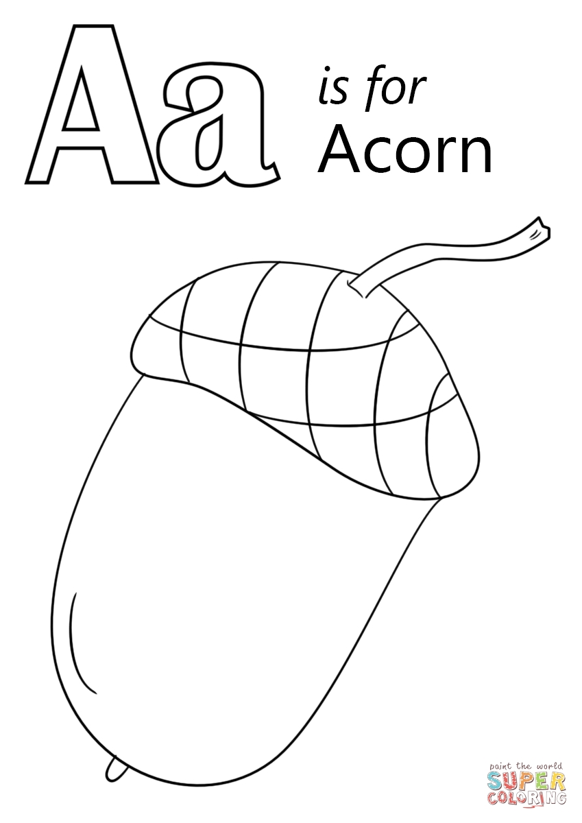 acorn coloring page - letter a is for acorn