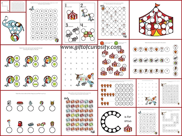 addition coloring pages - circus do a dot printables free