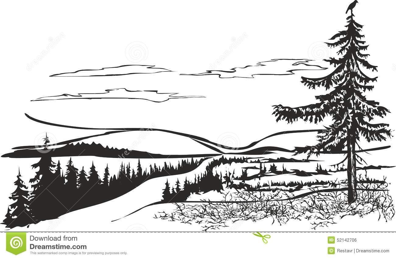 addition coloring pages - stock illustration northern landscape crow vector drawing can be used as small image area addition to information topic image