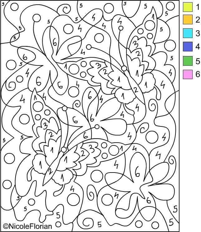 adult color by number pages - 6580
