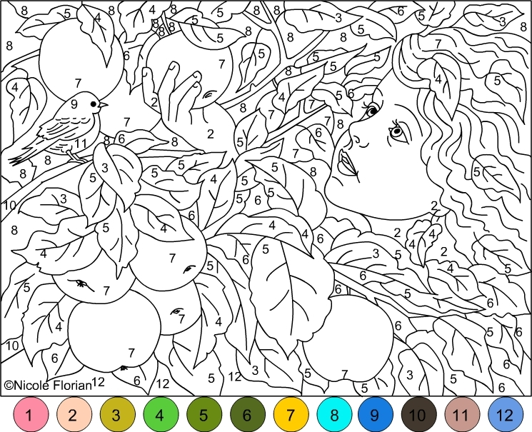 adult color by number pages - color by number gold apples coloring