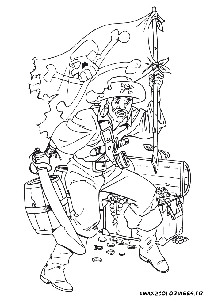 adult coloring pages - pirate garde son tresor