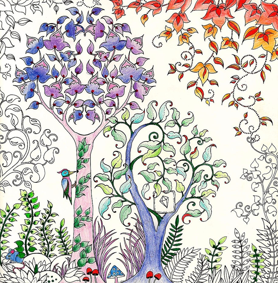 adult coloring pages colored - coloring books adults johanna basford