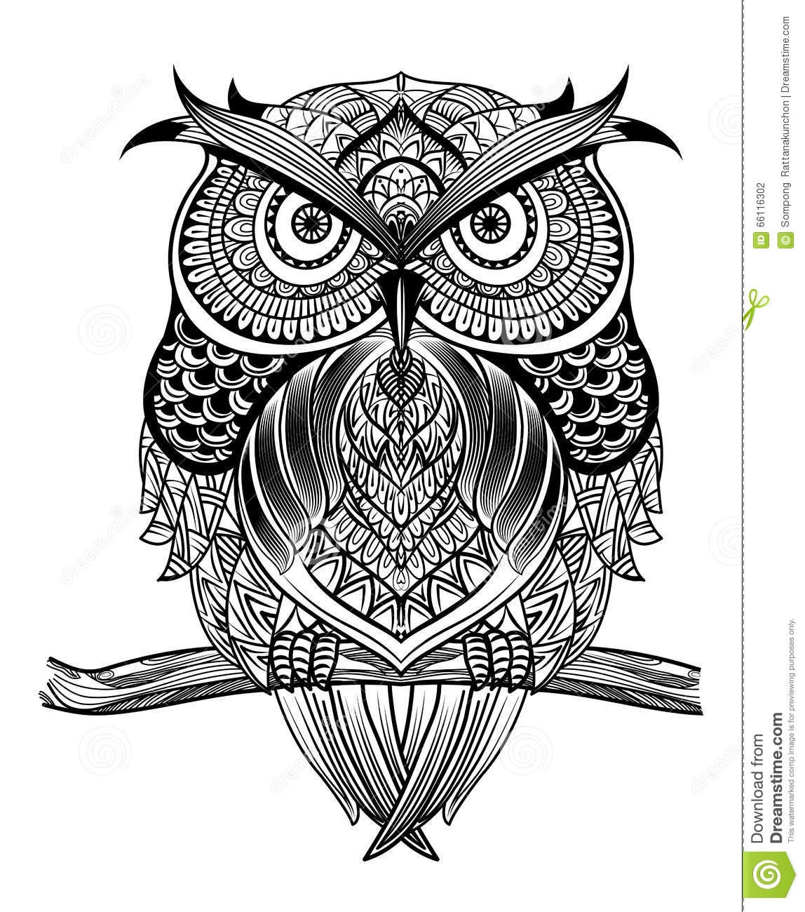 adult coloring pages elephant - stock illustration line art owl vector hand drawn sitting branch black white zentangle ethnic patterned illustration antistress coloring image