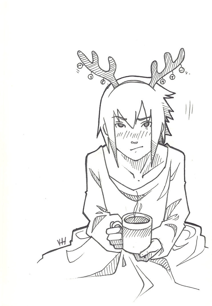 adult coloring pages with quotes - Christmas Sasuke Lineart