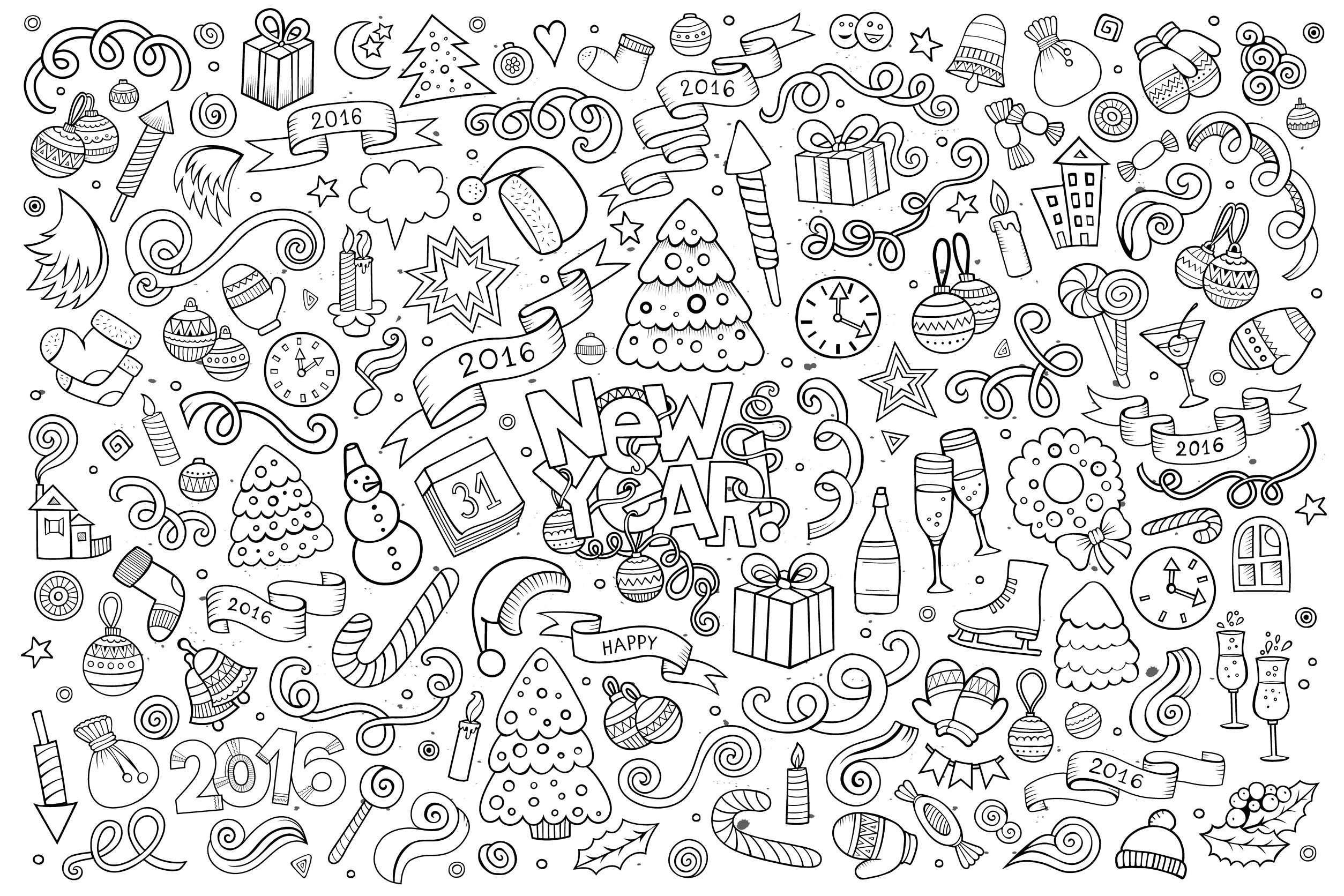 Adult Coloring Pages with Quotes - Doodle Happy New Year 2016 by Balabolka