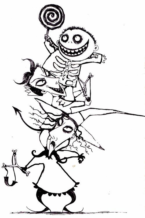 adult disney coloring pages - coloring nightmare before christmas