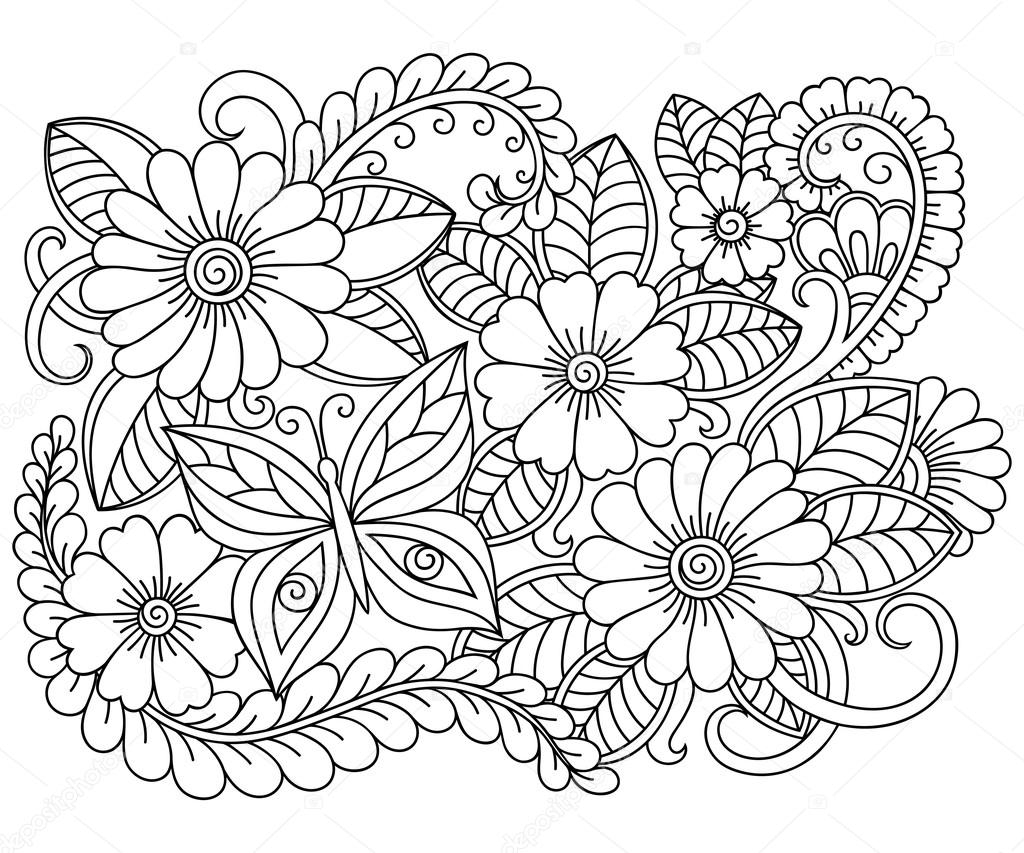 adult disney coloring pages - stock illustration doodle pattern in black and