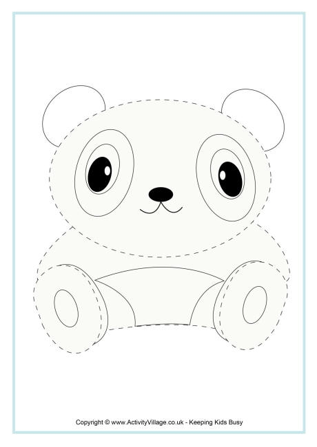 advent coloring pages - panda tracing page