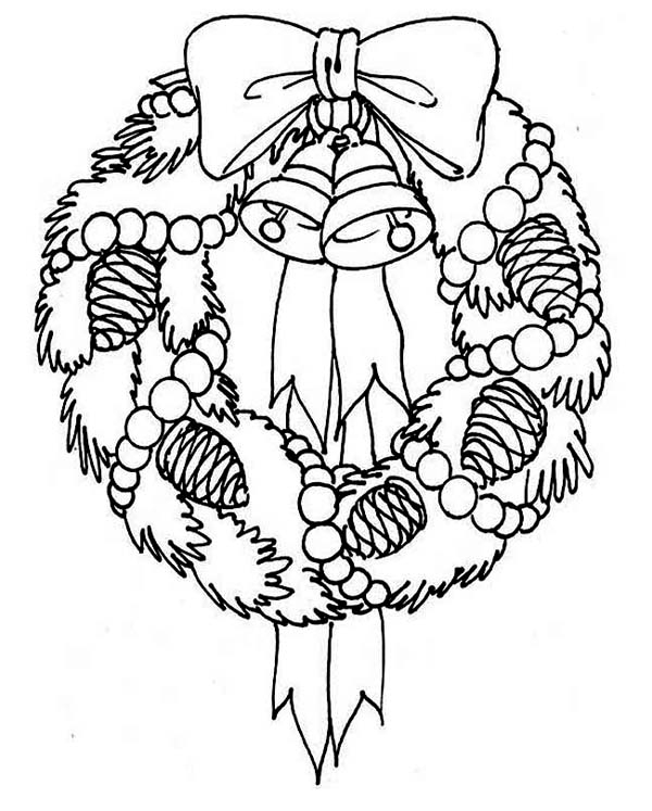 advent wreath coloring page - a sweet christmas wreath for hanging decor coloring page 2