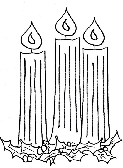 advent wreath coloring page - clip on candles