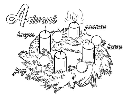 advent wreath coloring page - advent