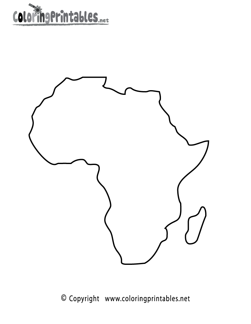 africa coloring pages - africa map coloring page