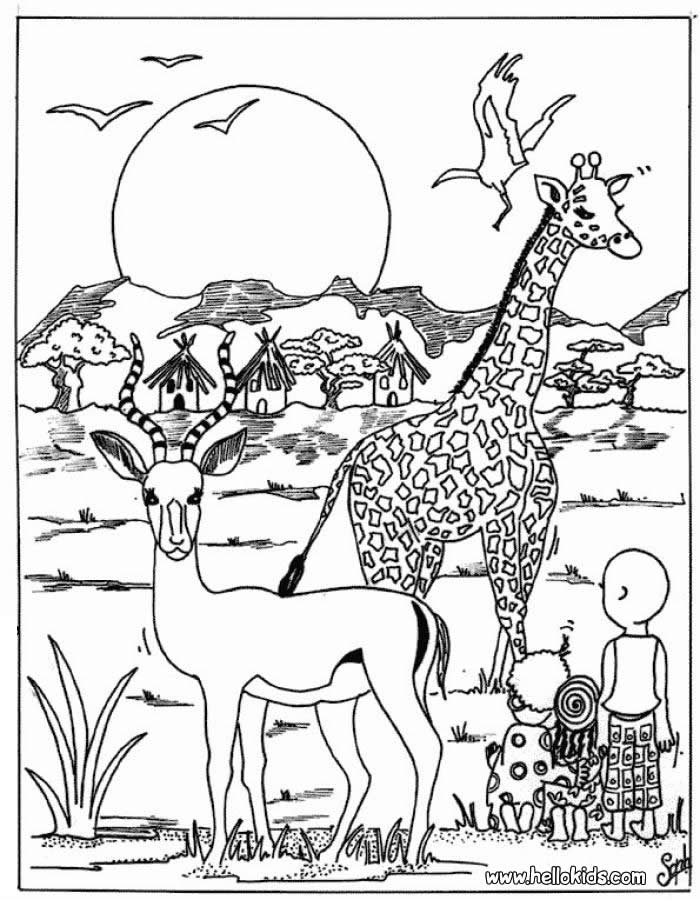 africa coloring pages - african animals coloring pages