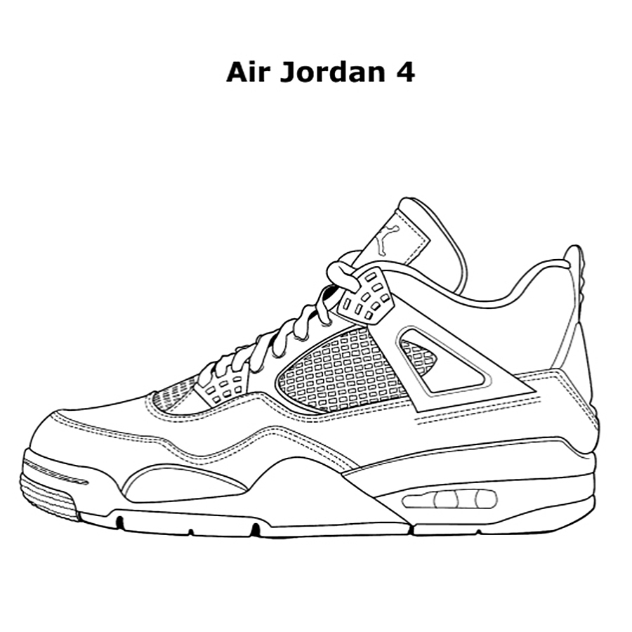 air jordan coloring pages - air jordan 4 coloring sketch templates