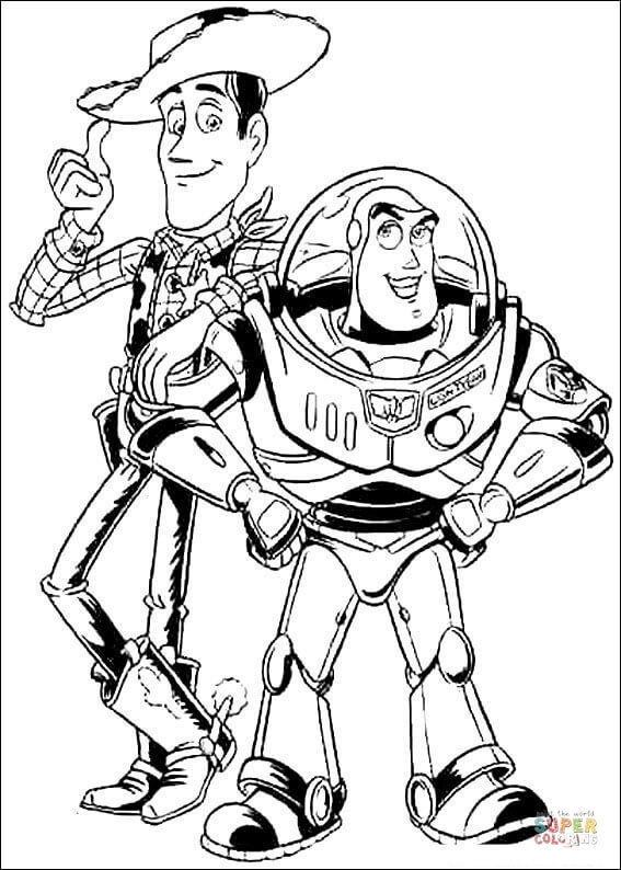 aladdin coloring pages - buzz leclair et sherif woody