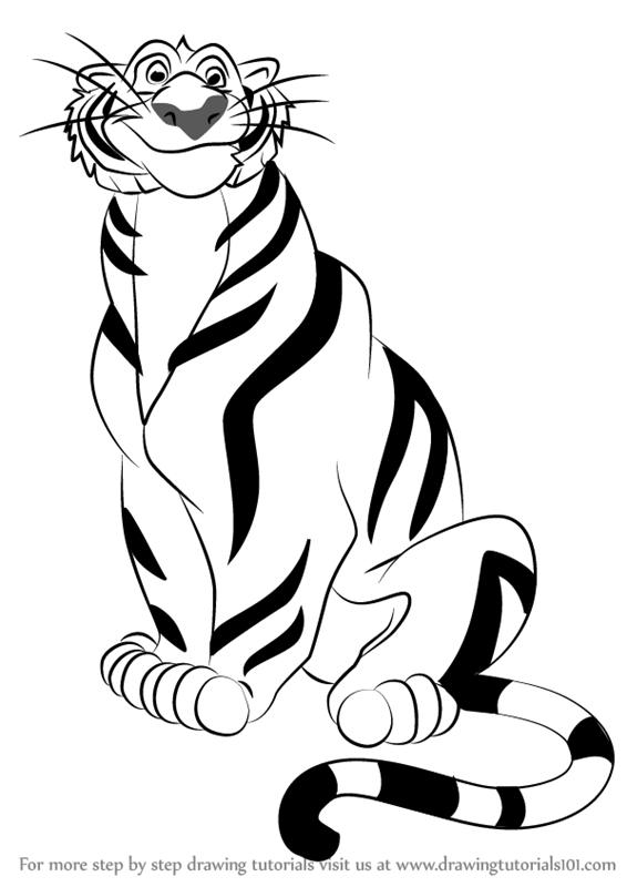 aladdin coloring pages - how to draw rajah from aladdin