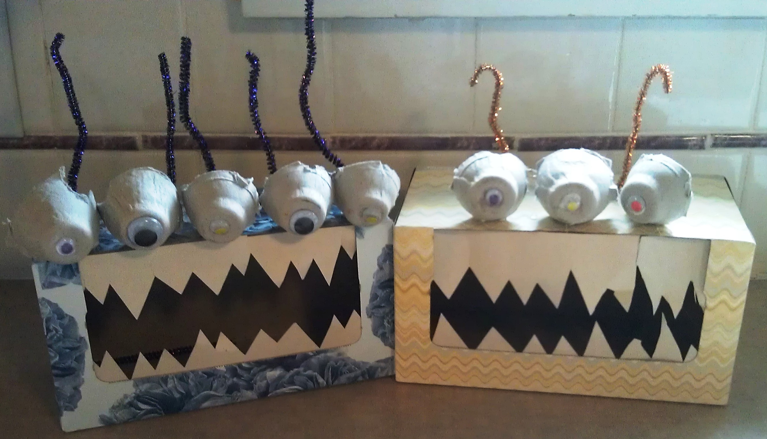 alien coloring pages - recycled craft tissue box monsters aka boogie monsters