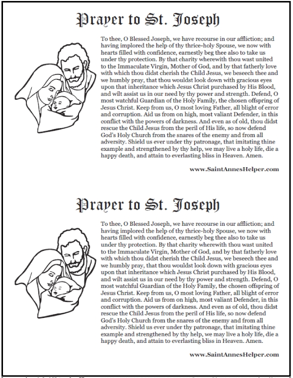 all saints day coloring pages - prayer to st joseph