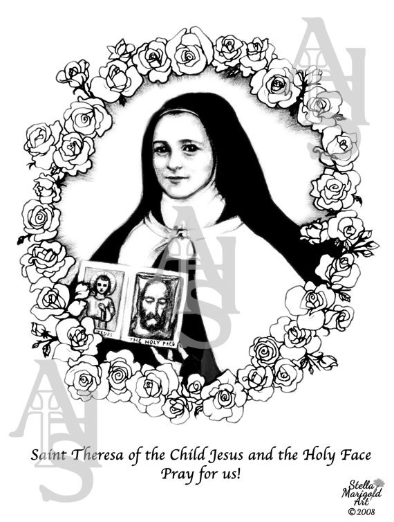 all saints day coloring pages - saint theresa of the child jesus and the