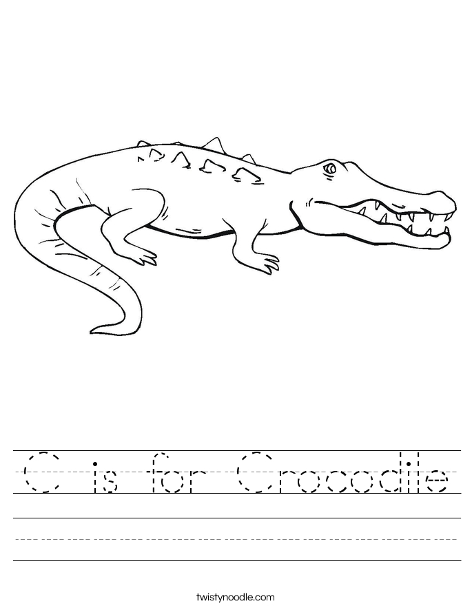 alligator coloring pages - c is for crocodile 3 worksheet