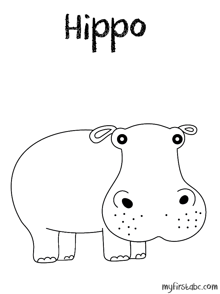 alligator coloring pages - hippo coloring page