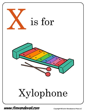 alphabet coloring pages preschool - x is for xylophone letter x