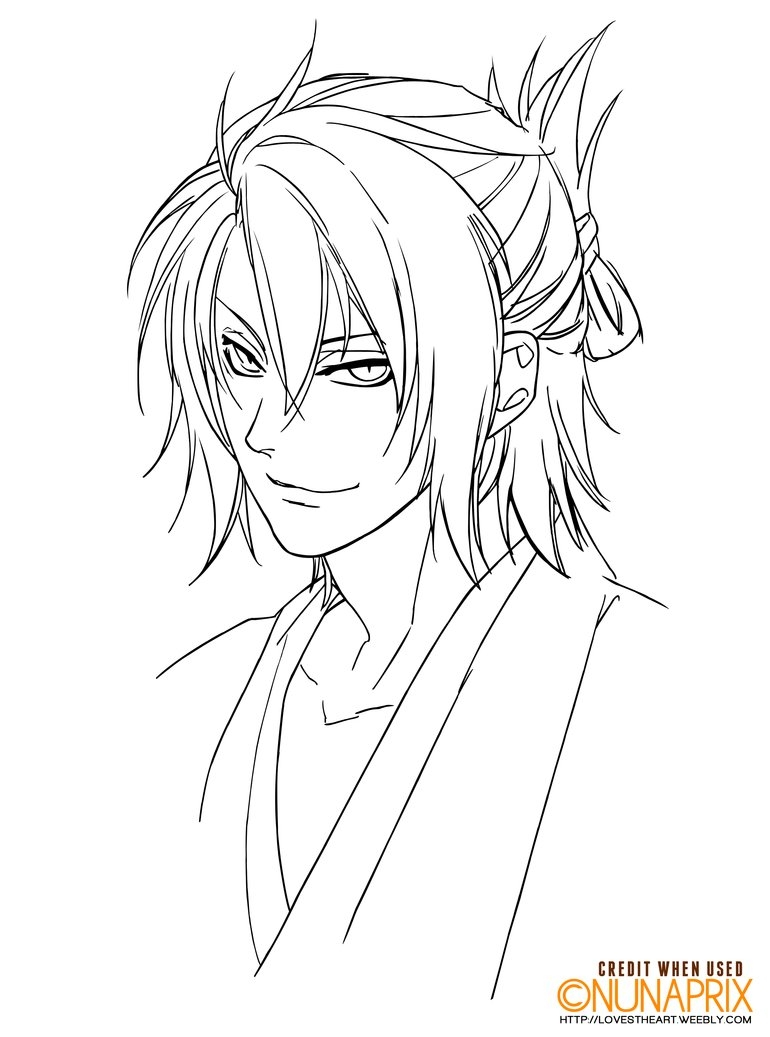 amazing coloring pages - Hakuouki s Okita Souji