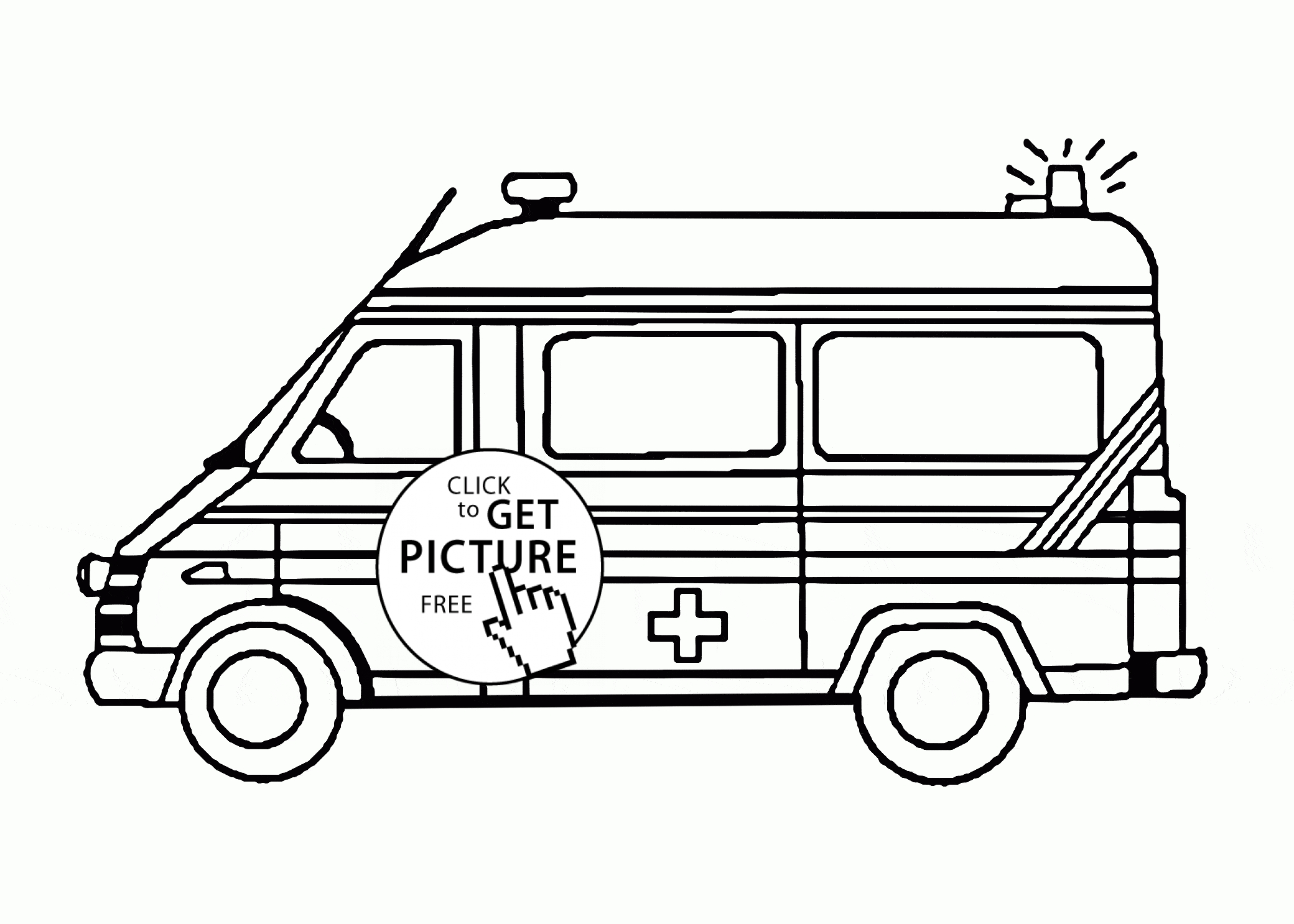 ambulance coloring pages - ambulance car with flasher coloring page for kids transportation coloring pages printables free