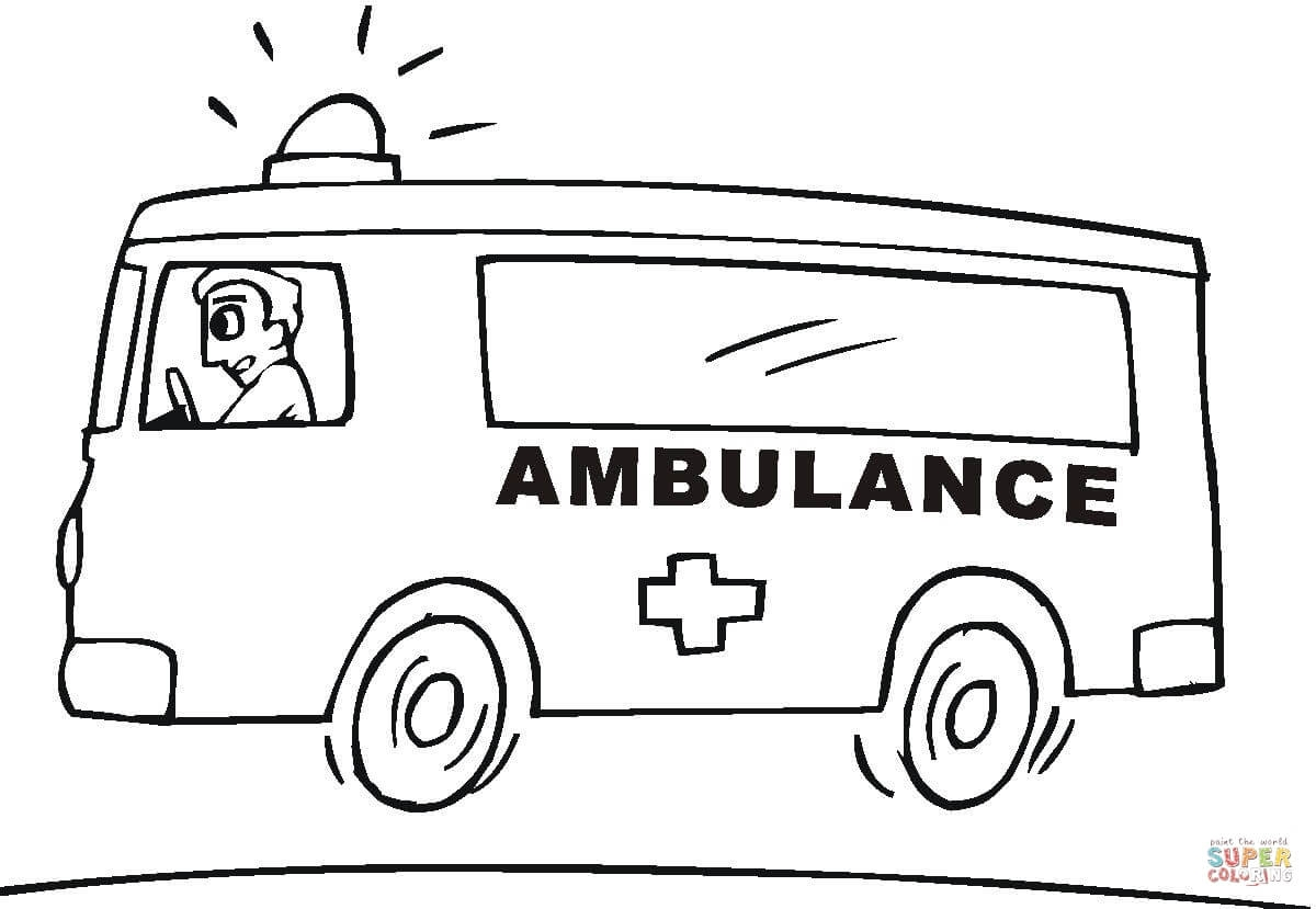 ambulance coloring pages - emergency vehicle