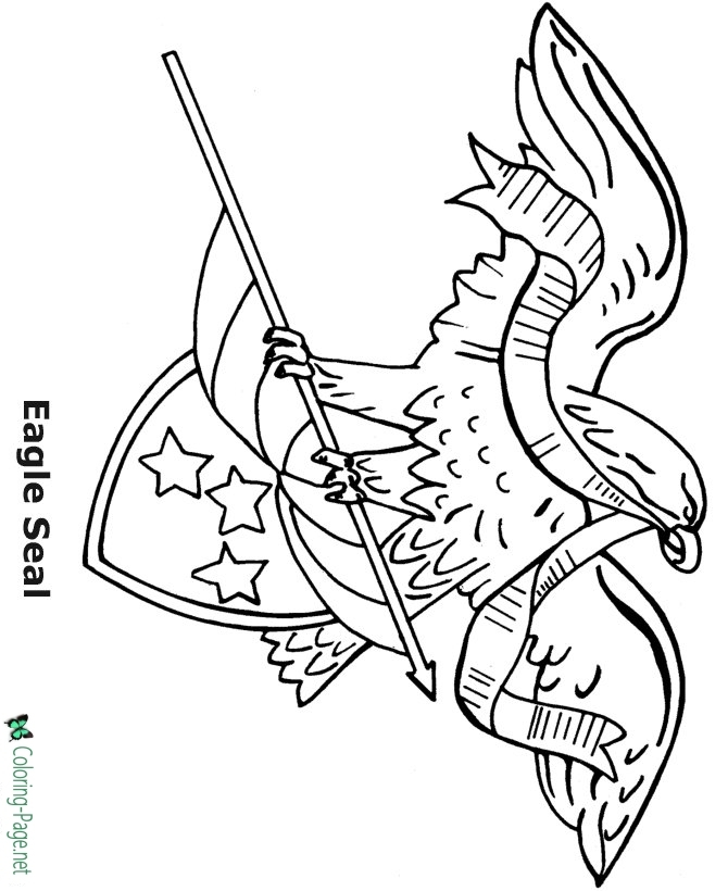 america coloring pages - eagle holding flag