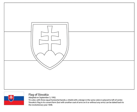 american flag coloring page - flagge der slowakei