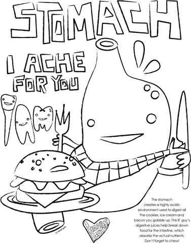 anchor coloring page - stomach coloring page