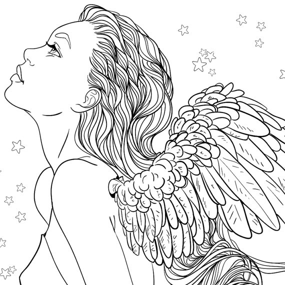 angel coloring pages for adults -