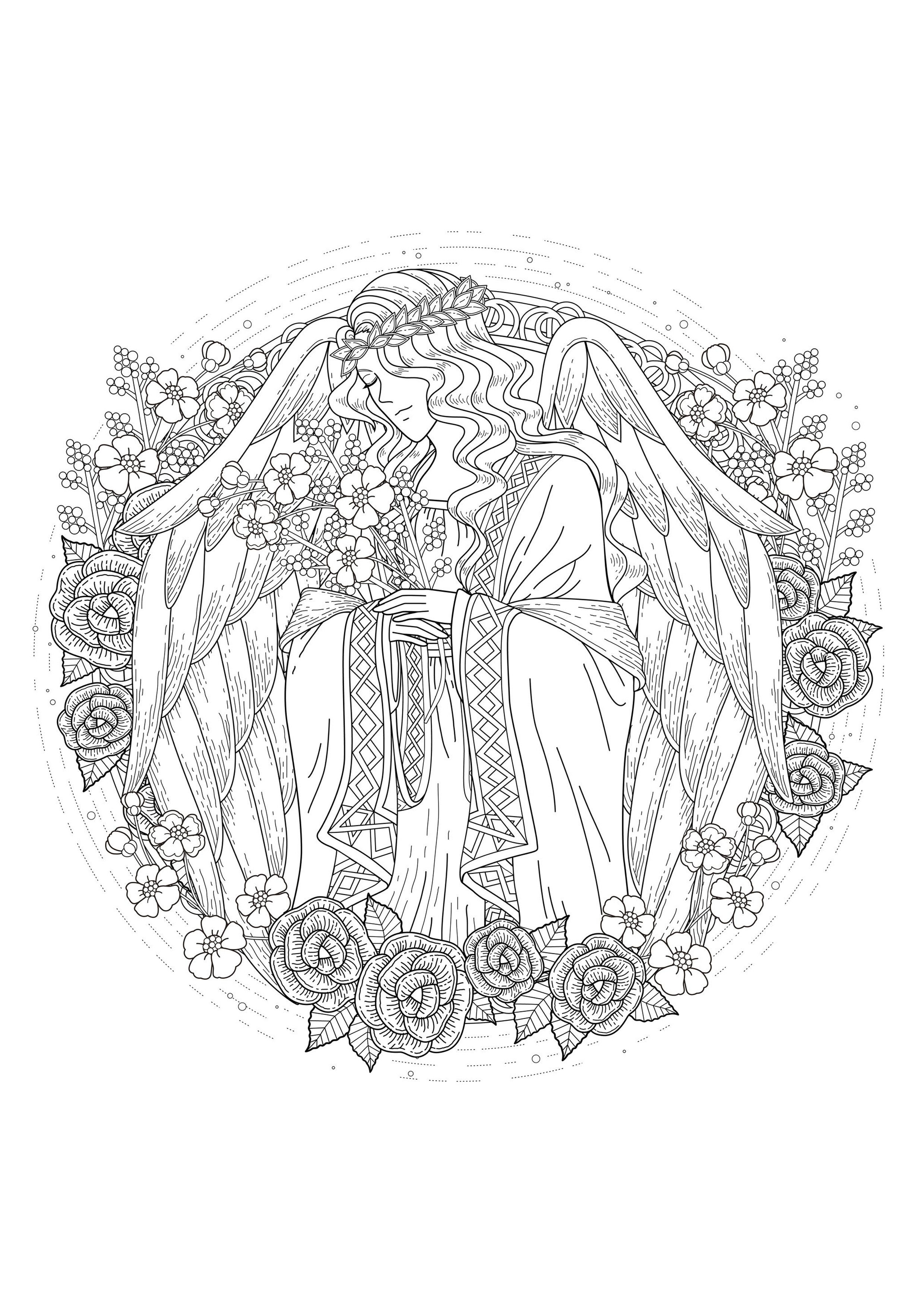 angel coloring pages for adults - page 6